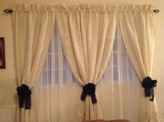 Burlap curtains by ShabbyHattiesCottage on Etsy, $60.00