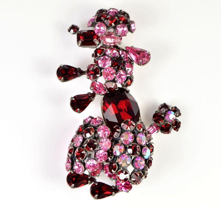 Vintage Brooch SCHREINER Large 1950s Pink & Red Poodle Retro Bridal Jewellery #Schreiner