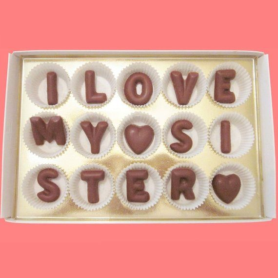 Holiday Gift For Sister In Law Birthday Younger From Older I Love My Large Milk Chocolate Letters