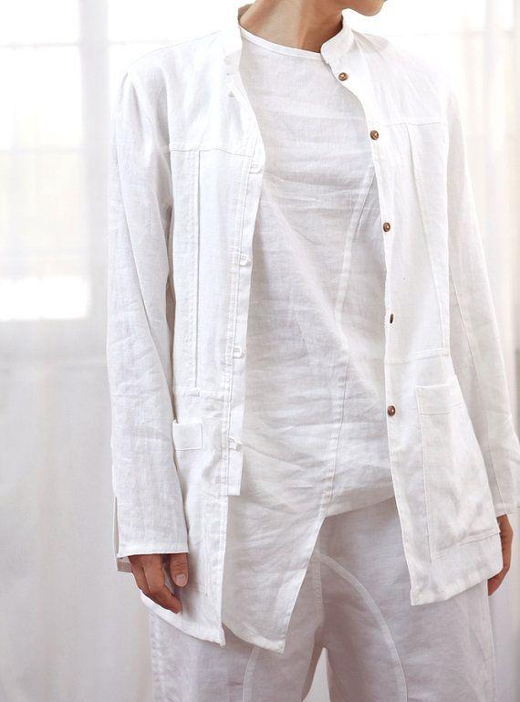 White linen stand collar leisure wear home wear shirt by lanbao, $115.00