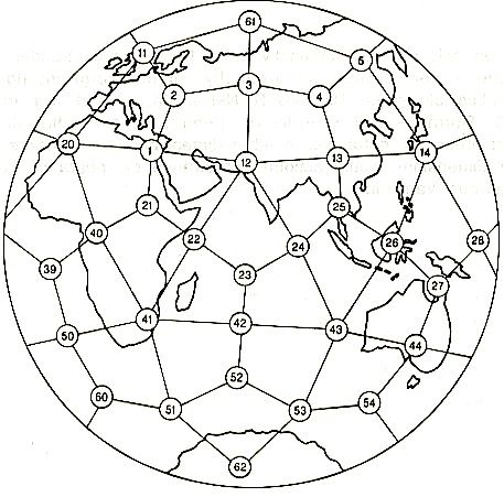 For the locations of these Earth Energy points, see Anti-Gravity and the World Grid, by David Hatcher Childress. These are the geographical distributions of ancient sites such as the Pyramid and the sites of high volcanic and earth quake activities. The lines connecting these points are referred to as ley lines or the Earth's acupuncture meridians.