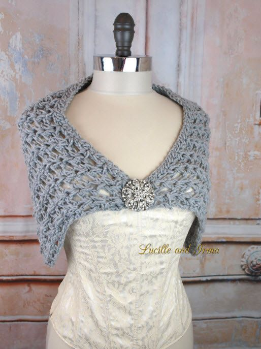 Silver Crochet Wedding Shawl Bridal Stole Bridesmaids Shrug Grey Bolero Evening Wrap Bridal Shoulder Cover With Rhinestone Brooch