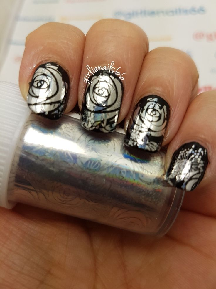 Black and silver rose nails