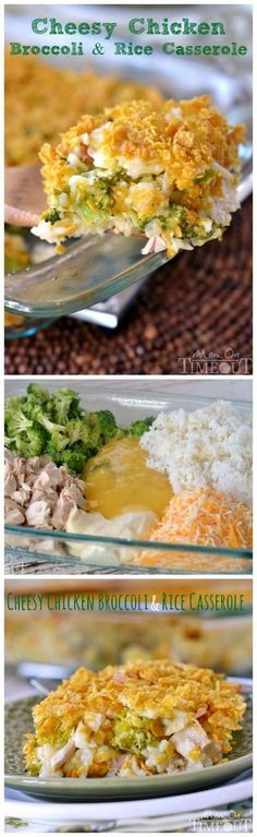 This Cheesy Chicken Broccoli and Rice Casserole 2 cups of diced rotisserie chicken {or any other cooked chicken} 2 cups broccoli florets, broken down into bite-sized pieces 1 can cream of chicken soup {can use low-sodium or Healthy Request} 2 cups cooked rice 1½ cups shredded cheese ½ cup mayonnaise ½-3/4 cup crushed corn flakes 2 tbsp Challenge butter, melted
