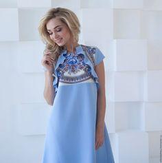 Летнее платье, голубое платье колокольчик – купить или заказать в интернет-магазине на Ярмарке Мастеров | Когда на улице солнце, тепло, так хочется…