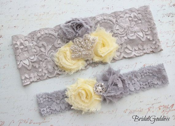 Hey, I found this really awesome Etsy listing at http://www.etsy.com/listing/114453939/yellow-and-gray-wedding-garter-set-toss