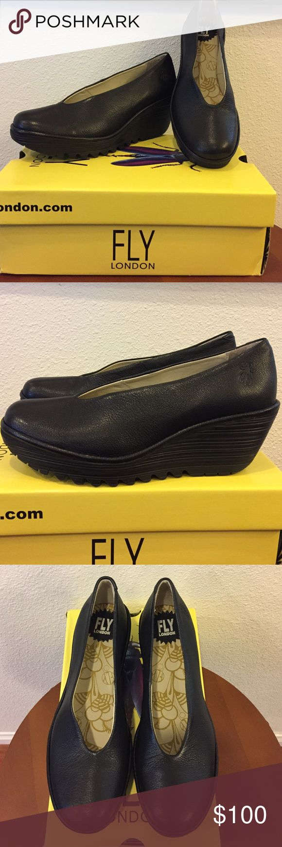 Fly London shoes New Blk size 38 Fly London New black leather size 39. Purchased new and they are to big for me. I wear a 8 and 38 in fly London says it's a 8-81/2 Fly London Shoes Wedges