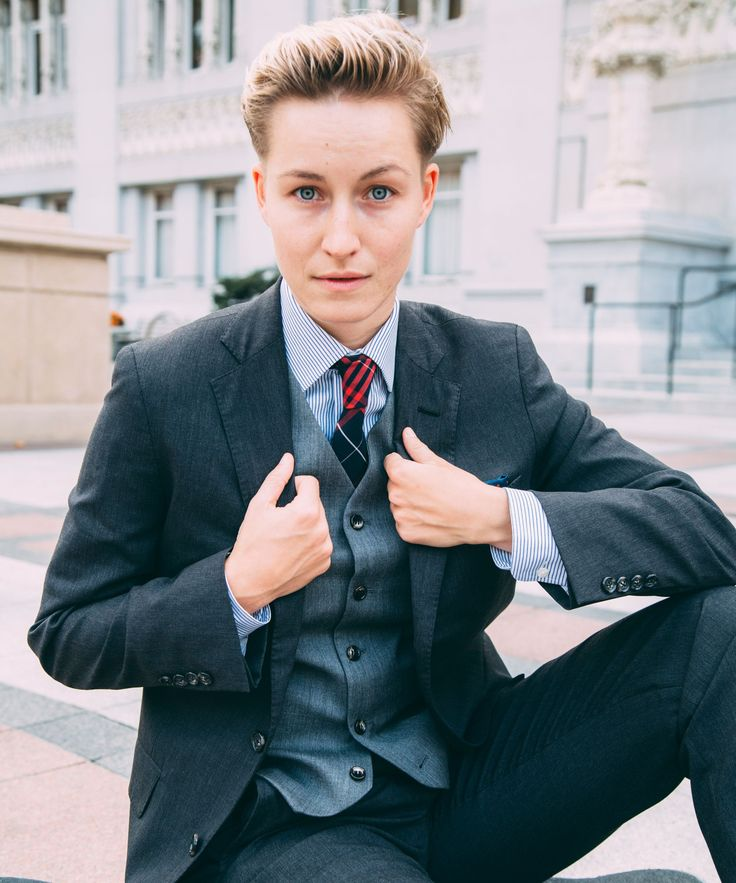 Saint Harridan Womens Suits Trans Men - Custom Fit | Designer Mary Going is the brain behind Oakland-based company St. Harridan, a line that remakes men's clothes for women's bodies. #refinery29 http://www.refinery29.com/saint-harridan-womens-suits-transmen