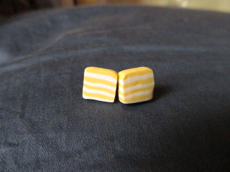 yellow striped clay earrings