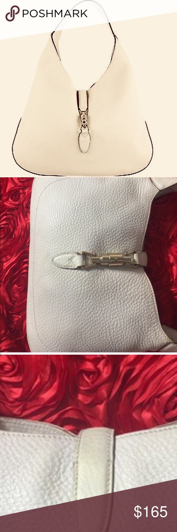 """GUCCI Jackie Leather Hobo Shoulder Bag Off-White Authentic GUCCI Vintage Jackie Leather Hobo Shoulder Handbag Off-White. Pre-Loved! Soft pebbled  leather., Palladium toned hardware, Single handle with 9.4"""" drop, Piston strap closure. Measurements: (Large): 16.9""""W x 12.2H"""" x 2.3""""D., Unlined with suede interior. From Poshmark certified seller. There are some discoloration and minor see pictures closely. No sign of tear. Leather is in great condition. Brand new one still out there and it cost a…"""