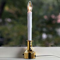 Electric Christmas Window Candle - Adjustable Height Brass Finish