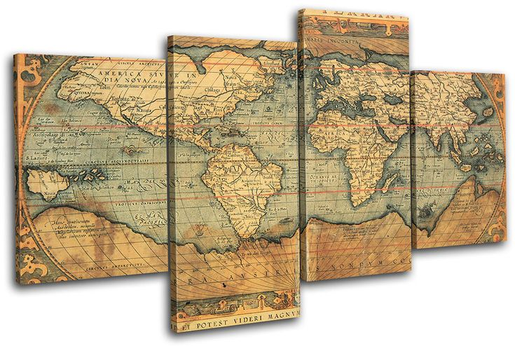 Old World Atlas Maps Flags Multi Canvas Wall Art Picture Print VA ...