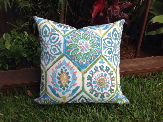 $25 Cushions Blue and Green PILLOWS Moroccan Tile Berry Pink, Indoor/Outdoor Cushion TANGERINE Outdoor Pillow Caribbean Blue Bohemian Pillow.