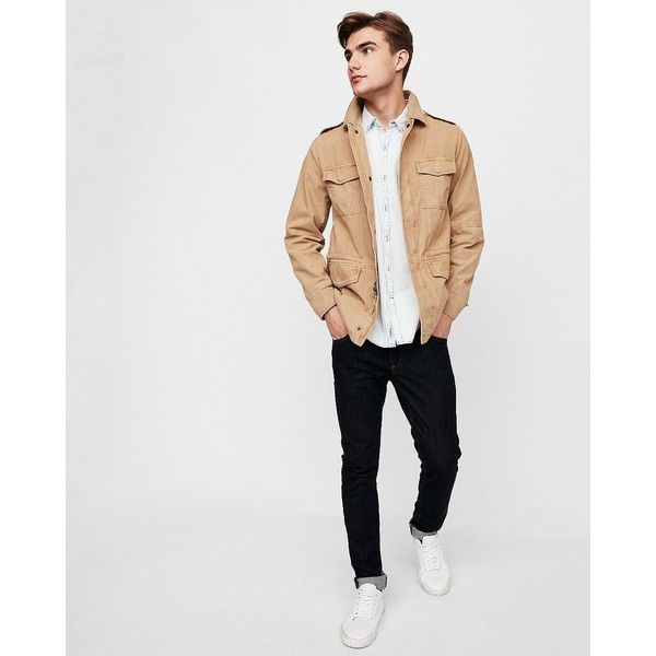 Express Garment Dyed Field Jacket (£105) ❤ liked on Polyvore featuring men's fashion, men's clothing, men's outerwear, men's jackets, neutral, men's sherpa lined jacket, mens zipper jacket, mens military style jacket, mens leopard print jacket and express mens outerwear