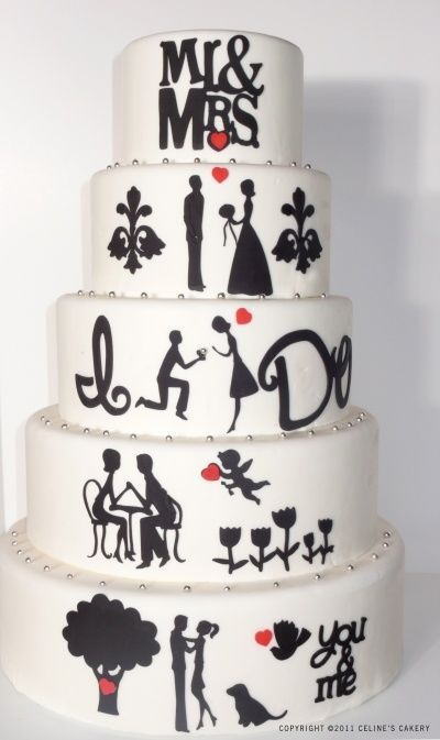 pastel de Boda en blanco y negro, decoración.//Black and White wedding cake, decorations, bride and groom.