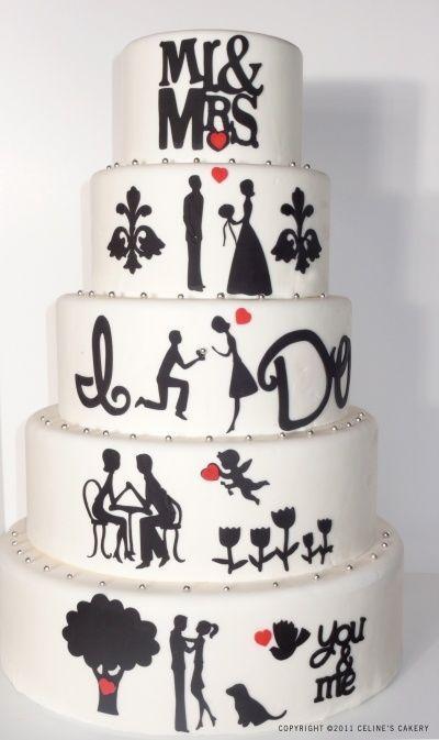 pastel de Boda en blanco y negro, decoración.//Black and White wedding cake, decorations, bride and groom.