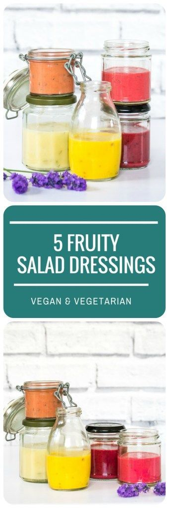 These 5 Fruity Salad Dressings are so quick and easy to make from bits of fruit you might have lying around the kitchen, and a basic vinaigrette recipe, but their bright colours and zingy flavours will perk up even the most boring of leafy green salads! Vegan & vegetarian.