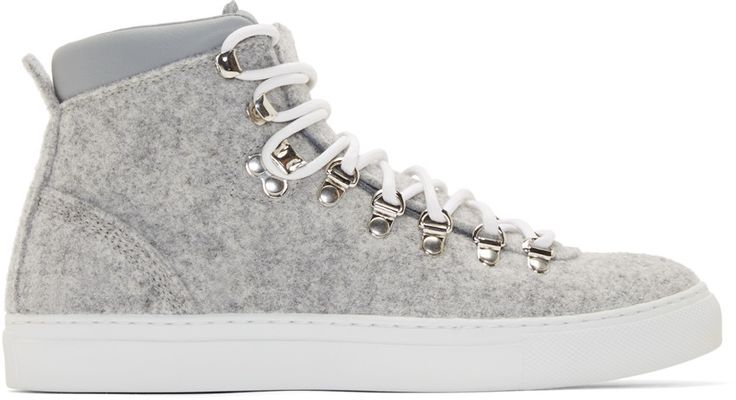 Diemme :: Grey Felted Wool Mid-Top Marostica Sneakers