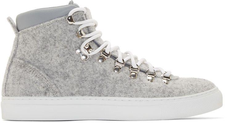 Diemme :: Grey Felted Wool Mid-Top Marostica Sneakers