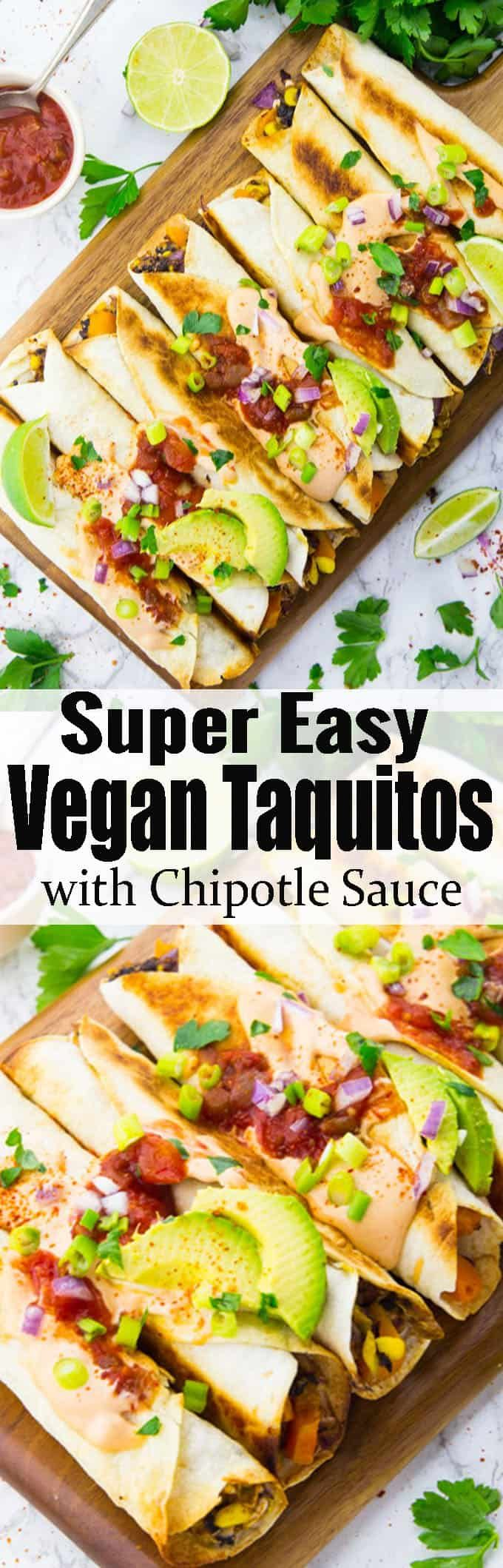 If you like Mexican food, you will LOVE these vegan taquitos with chipotle sauce! They're pure comfort food! And they make such a great vegan dinner. Find more vegan recipe ideas on veganheaven.org!