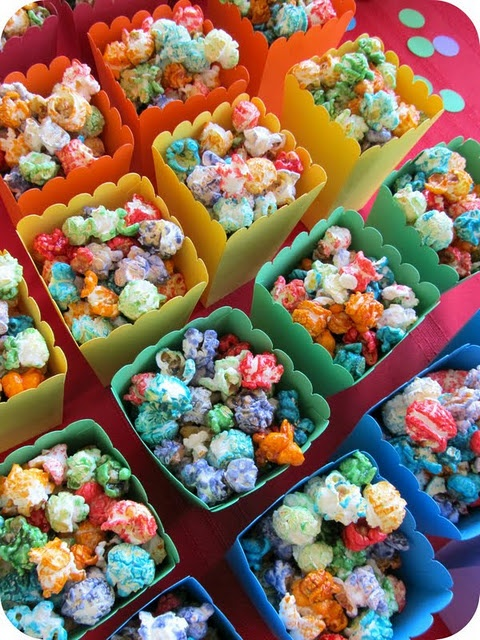 homemade rainbow popcorn:  1 c. light Karo syrup  1/2 c. sugar  1 small pkg. Jell-O (any flavor)  16 to 18 c. popped popcorn - perfect for St Patty's Day