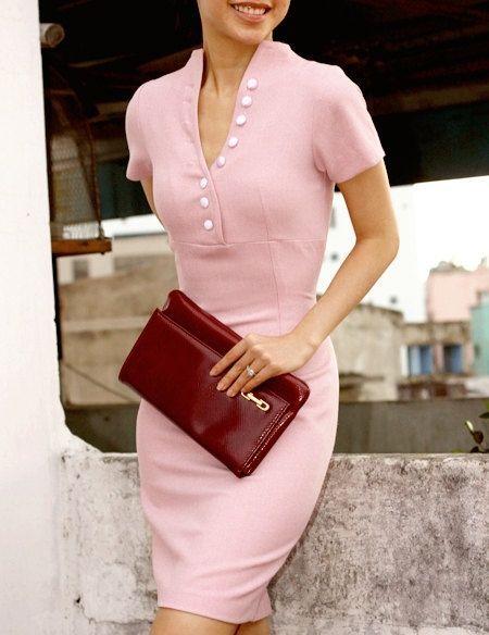 Pretty pink, sweater dress.
