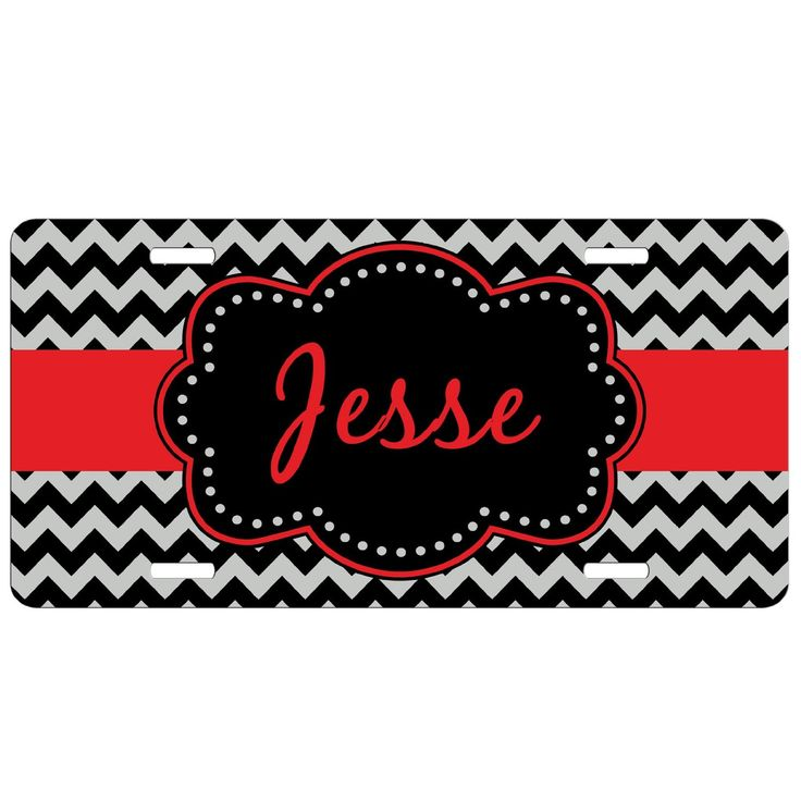 AmazonSmile: Personalized Car Tag - Auto Tag - Black Red Chevron: Automotive