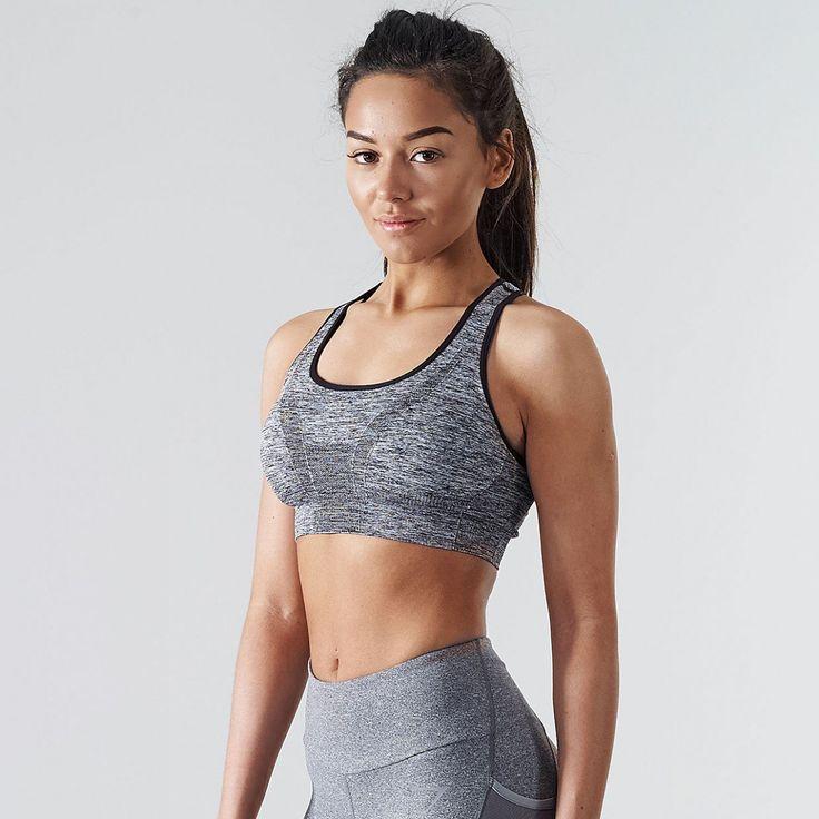 Seamless Sports Bra   Fitness Bra   Charcoal