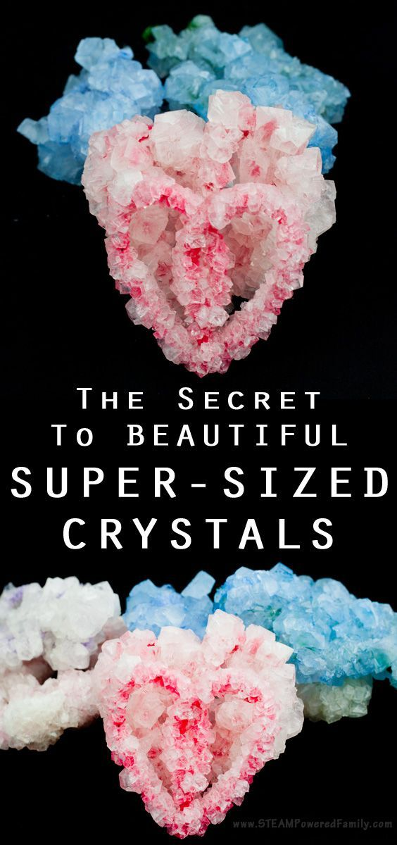 Growing big crystals from borax, sugar or magma requires the same secret step. STEAM activity challenge - make the biggest crystals!