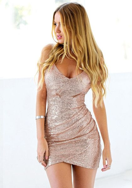 Best Sellers // Choose both glitz and glamour when you wear this rose gold sequin cocktail slip dress.