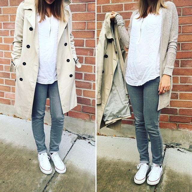 Look streetwear de Delphine - Converses blanches, jean gris et trench coat beige @kookaï. Outfit décontracté et moderne