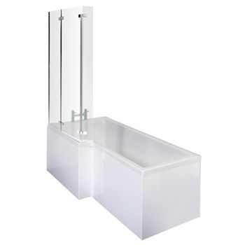 1700mm L Shape Square Shower Bath with Hinged Screen - Left/Right Hand  Option