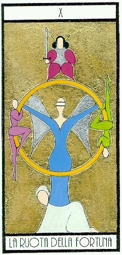 La Ruota della Fortuna - the wheel of fortune from the benedetti tarot     The focus of this card is on conflicts of interest, unexpected developments, important news that changes or alters your course, also important news and information.