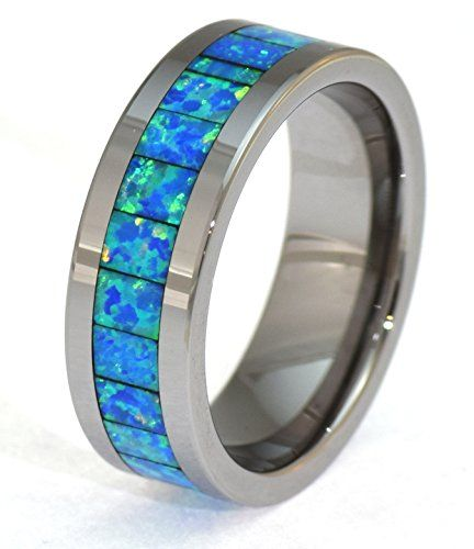 6mm Precious Opal Tungsten Carbide Ring with Blue and Sli... https://makelifeeasier123.blogspot.com/p/jewelry.html