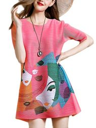 Color Block Floral Loose Half Sleeve Mini Dress #WITCHERYSTYLE