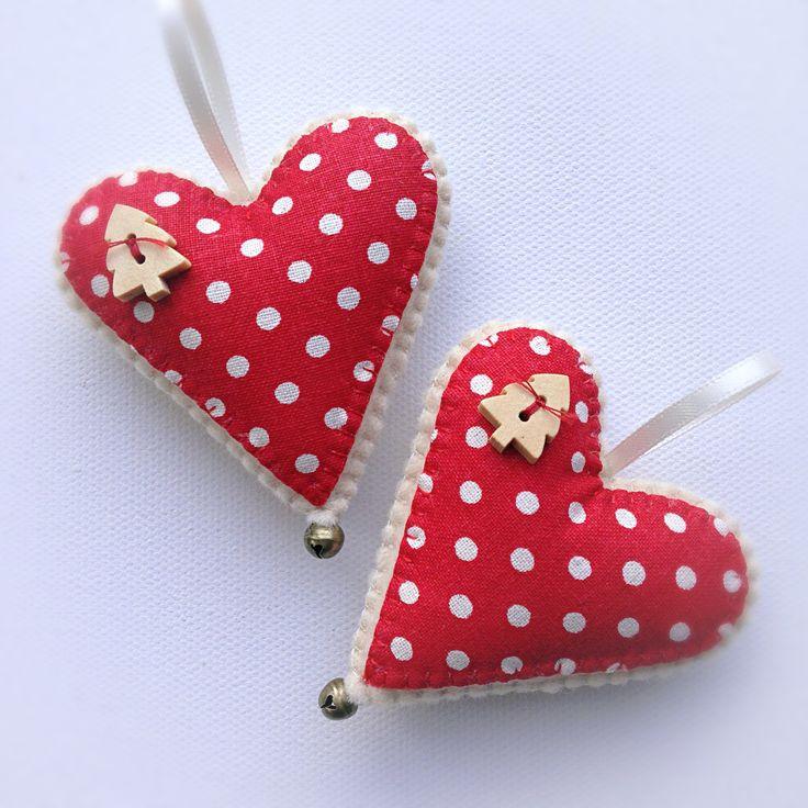 Hand stitched Felt Scandi Hearts Christmas Decorations
