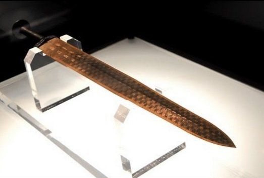 The Sword of Goujian is an archaeological artifact of theSpring and Autumn period (771 to 403BC) found in 1965 in Hubei, China. Forged of copper and tin,