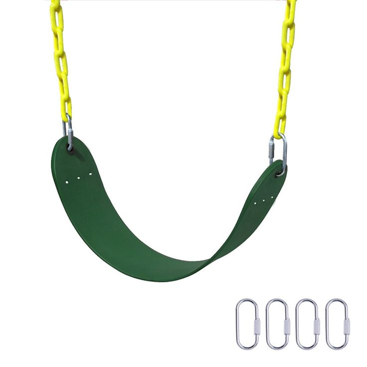 "Heavy Duty Swing Seat,Gimilife 66"" Chain Plastic Coated Playground Swing Set Accessories Replacement with 4 Upgraded Hooks for Child ( Green ). Safe And Durable Seat: This Swing Seat are made from EVA material, which has good chemical stability, good shockproof and buffer performance, also being ageing resistance, corrosion resistance, cold resistance and exposure resistance. Sturdy And comfortable Chain: Our child swing is assembled with plastic coated galvanized chain, which is…"