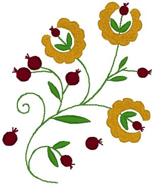 Hungarian Embroidery: Matyo Folk Art Tulips and Berries Embroidery Design