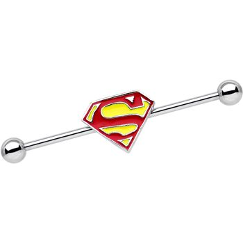 Licensed Stainless Steel Yellow Superman Logo Industrial Barbell 35mm   Body Candy Body Jewelry