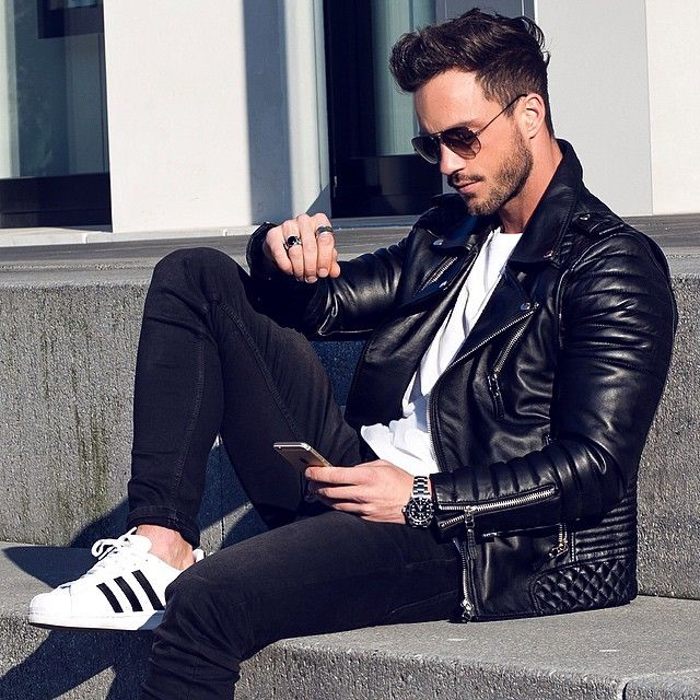 Black Leather Quilted Moto Jacket, Black Skinny Jeans, and White Adidas Sneakers, Men's Fall Winter Fashion.