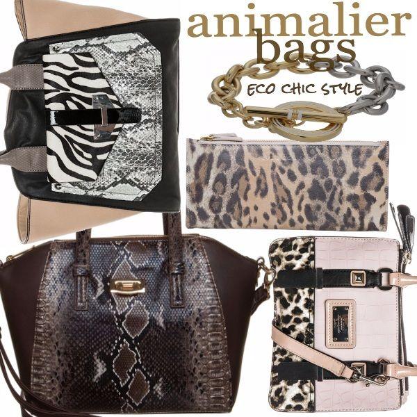 Un set di borse con fantasia animalier: dalla shopper, alla doctor bag e alla borsa a tracolla, fino alla clutch. Per non risultare eccessive, abbinate ognuna di queste borse ad un look total black, su cui questo tipo di fantasia risalterà particolarmente.