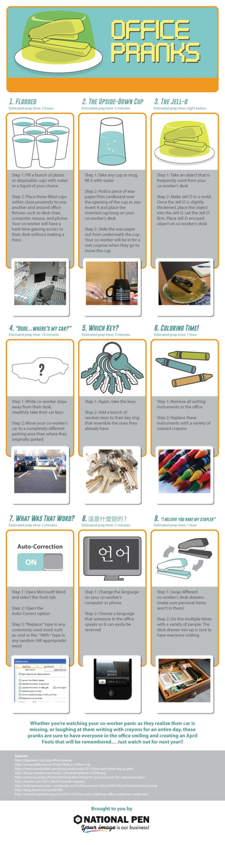 Top Office Pranks for April Fool's Day Infographic | Visio Marketing Group