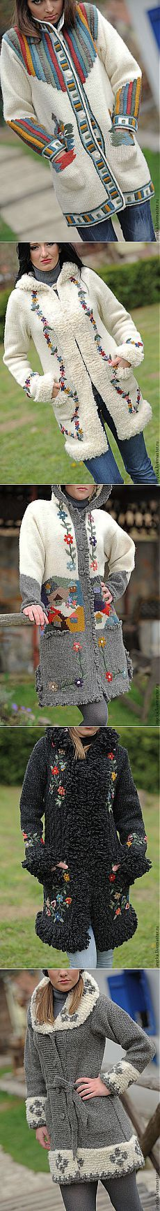 "Вязаные пальто. Мастерская ""WOOL-ART"", Сербия."