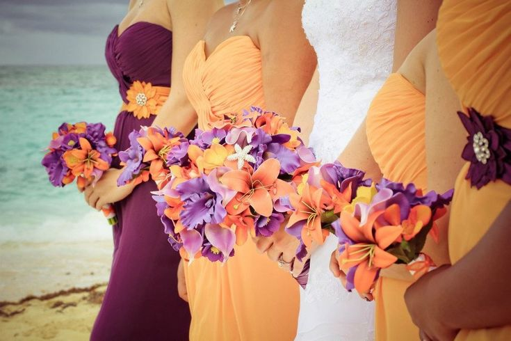 Beach wedding flowers purple and orange wedding
