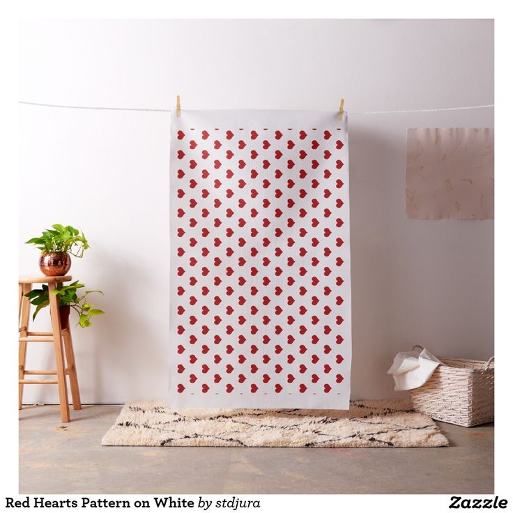 Red Hearts Pattern on White Fabric  #Red #Hearts #Pattern on #White #Fabric #zazzle