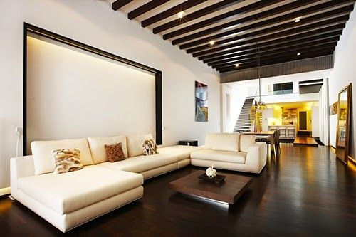 Dark Laminated Wooden Floor Tiles in Modern Minimalist House Design