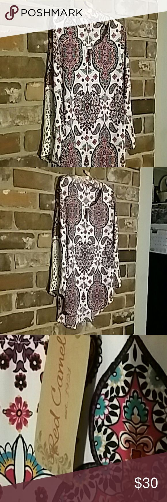 Multi color Blouse Playful peasant blouse new with tags.  Great for casual dressing Red Camel Tops Blouses