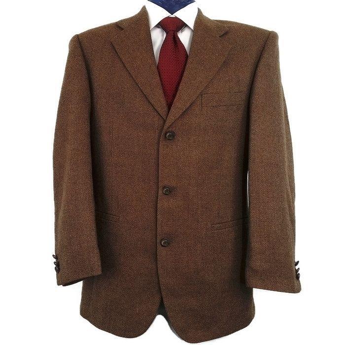 Gorgeous Hardy Amies London Brown Tweed Wool Sports Coat Blazer Jacket 41R $979  #HardyAmies #ThreeButton