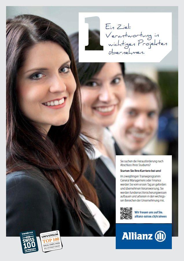 Verantwortung in wichtigen Projekten übernehmen: http://www.allianz.ch/karriere